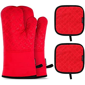 Homemaxs Oven Mitts and Pot Holders 4pcs Set Heat Resistant up to 482F/250°C Non-Slip Food Grade Kitchen Mitten Silicone Cooking Gloves s for Kitchen, Cooking, Baking, BBQ (Red)