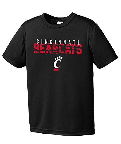 Cincinnati Baseball Bearcats - NCAA Cincinnati Bearcats Youth Boys Destroyed Short sleeve Polyester Competitor T-Shirt, Youth Medium,Black