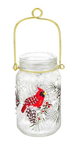 Cypress Home Glass Handpainted LED Cardinal and Pinecones Mason Jar