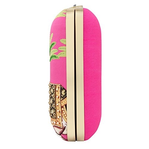 Ethnic Printed Case Animal Women Hathi Pink Clutch Satin for Purses Bageecha Hard wxUq5nIa0
