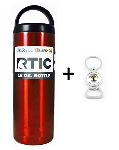 RTIC Custom Powder Coated Stainless Steel Insulated Can Colster Cup Mug Tumbler Beer Soda Water Bottle - Keeps drinks COLD or hot - great for travel (18 Ounce, 18oz, 18 oz, Red Shimmer)