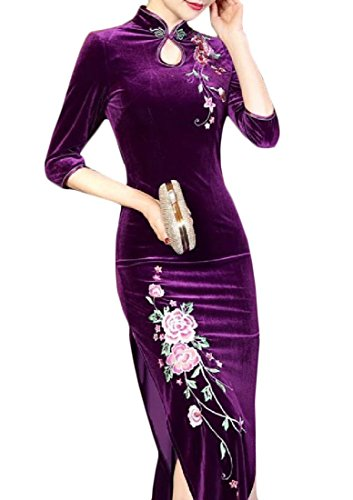 Long 3 Dress Womens Comfy Embroidered Collar Sleeve Pattern4 4 Stand Cheongsam xTAOS