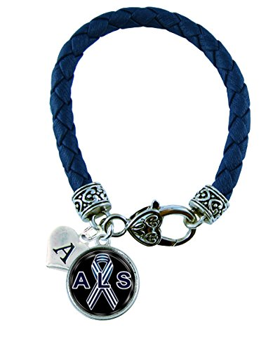 Holly Road Custom ALS Lou Gherig's Awareness Blue Leather Bracelet Jewelry Choose Initial -
