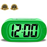 ZHPUAT Colorful Light Digital Alarm Clock with Snooze, Simple Setting, Progressive Alarm, Battery Operated, Shockproof, The Ideal Gift Clock For Kids & Convenient for Travel (Green)
