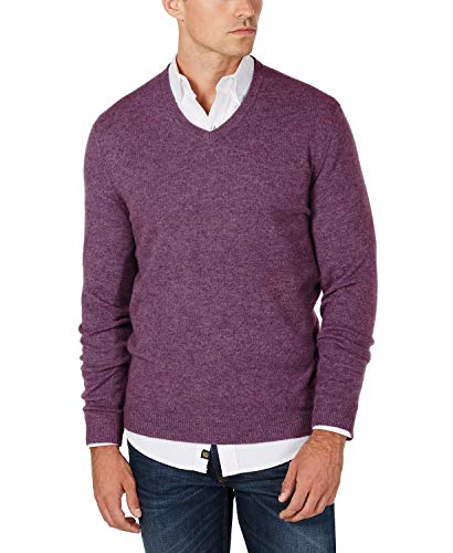 Club Room Men's 100% Cashmere V-Neck Solid Sweater (2XL, Amethyst Heather)