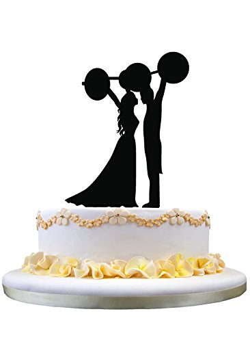 Unique Wedding Cake Topper- Bride and Groom Lifting The Barbell Silhouette