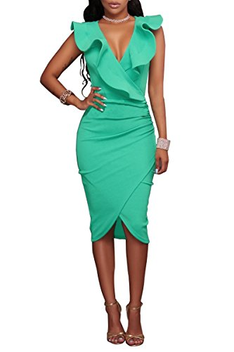 Robe Ourlet de Asymtrique Femme Moulante Robe S YMING Volant V Robe Club Vert 46 XXL 36 Col qvBwnIR4