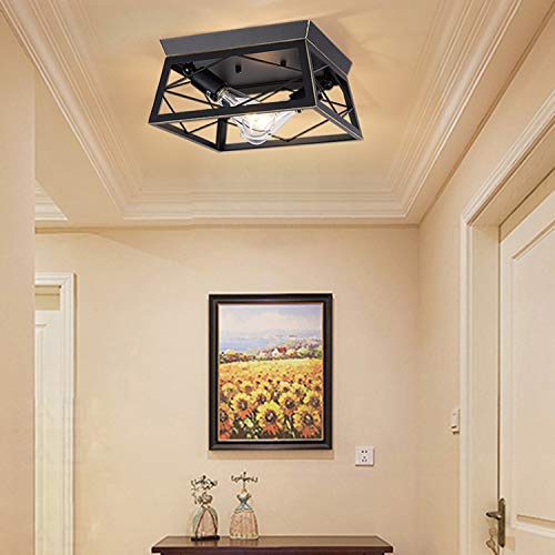 HMVPL Industrial Ceiling Lighting Fixtures, Farmhouse Flush Mount Close to Ceiling Lamp 2-Light for Kitchen Island Dining Room Bedroom Foyer Hallway