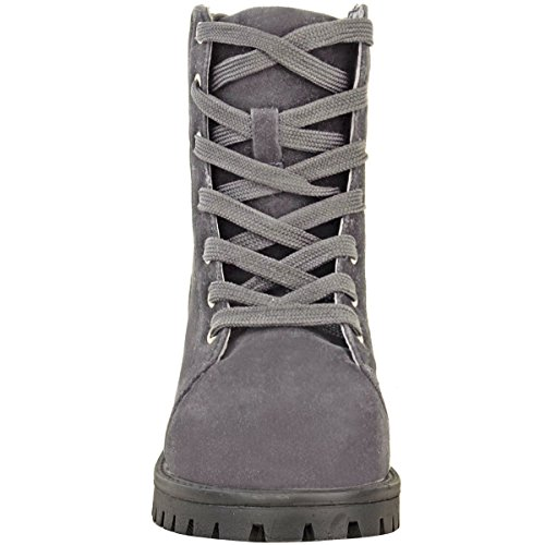 Fashion Thirsty Womens Snow Winter Faux Fur Lined Ankle Boots Flat Low Heel Grip Sole Size Grey Faux Suede / Faux Fur eRNAr1nMM