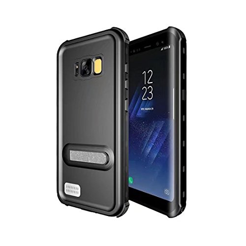 Galaxy S8 Plus Waterproof Case,Full Body Protective Underwater Cover IP68 Certified with Kickstand Built in Screen Protector Shockproof Snowproof Dustproof Case for Samsung Galaxy S8+ plus -Black - Kickstand Screen