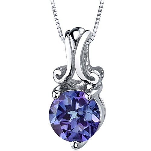 Simulated Alexandrite Solitaire Pendant Sterling Silver Rhodium Nickel Finish 1.75 Carats