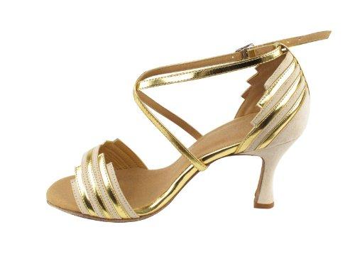 Ladies Women Ballroom Dance Shoes Very Fine EKSA1700 SERA 2.5 Heel with Heel Protectors Beige Nubuck & Gold Trim teSlwD