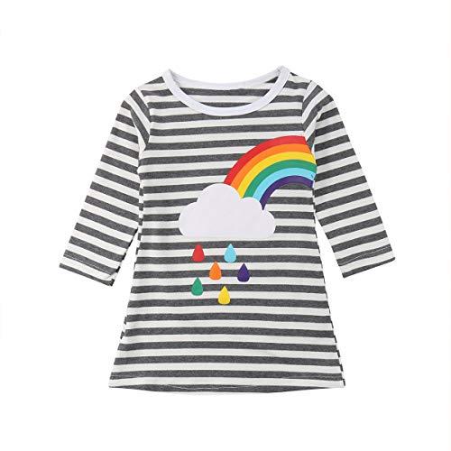 Foerverlonely Toddler Kids Baby Girls 3/4 Sleeve Striped Rainbow Casual T Shirt Dress Right Rainbow -