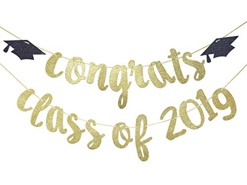 Congrats Class of 2019 Banner Sign, Graduation Cap Banner, High School Graduation, College Grad Party -