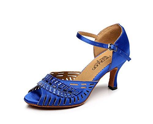 JSHOE Zapatos De Baile Latino Para Mujer Salsa / Tango / Chacha / Samba / Modern / Jazz Dance Sandals Tacones Altos,Blue-heeled7.5cm-UK6/EU39/Our40