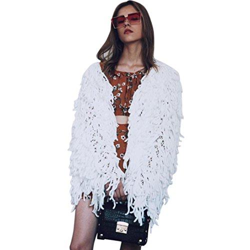Kanpola Women 's Winter Warm Oversized Fur Outwear Chaqueta de Abrigo Peludo Knit Cardigan para Mujer Blanco