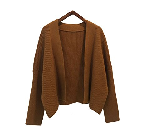 Angora Cardigan (Women's Loose Short Knit Shirt Art Style Cardigan Mercerized Angora Pile Baggy Sweater (Brown))