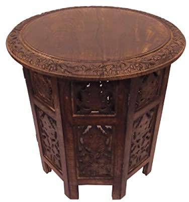 Cotton Craft - Jaipur Solid Wood Handcrafted Carved Folding Accent Coffee Table - Choose from Antique Brown & Antique White - 18 Inch Round Top x 18 Inch High