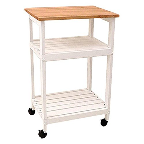 Wooden Microwave Kitchen Cart with Butcher Block Top - has a Cutting Board Surface - Two Slatted Open Shelves - Available in Multiple Finishes (White)