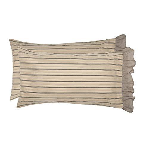 VHC Brands Farmhouse Bedding Miller Farm Charcoal Cotton Striped King Pillow Case Set of 2, Dark Creme White