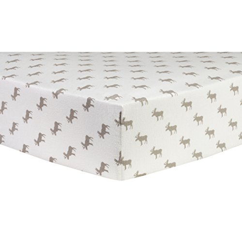 Trend Lab Gray Moose Silhouettes Deluxe Flannel Fitted Crib Sheet