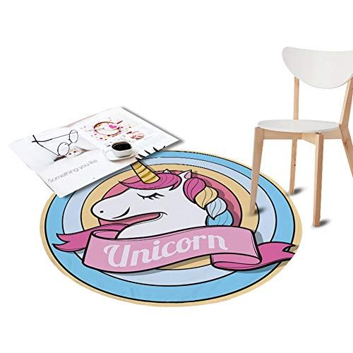 - KKONION Coral Velvet Chair Floor No-Slip Mat Unicorn Printed Round Carpet Children Play Crawling Area Outdoor Rugs Diameter 2'
