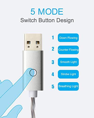 Detalles de Cable Cargador de teléfono Iluminado de 3 m, 2 Unidades de Cable de Carga