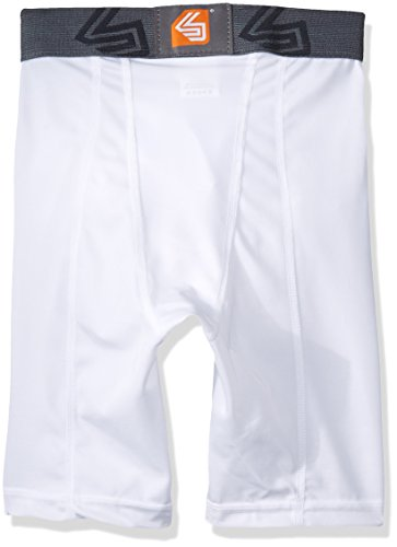 Shock Doctor Men's Core Compression Short with Bio-Flex Cup - Boys-X-Small - White by Shock Doctor (Image #2)