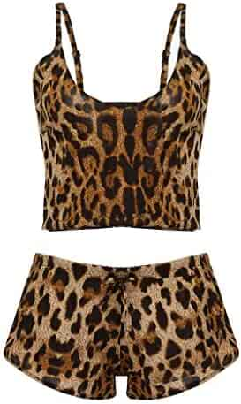 38c8f872691 SGMORE Sexy Lingerie for Women Plus Size Bow Leopard Underwear Sleepwear  Intimates Briefs