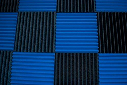 "12 Pack- Ice Blue/Charcoal Acoustic Panels Studio Foam Wedges 1"" X 12"" X 12"" - Image 2"