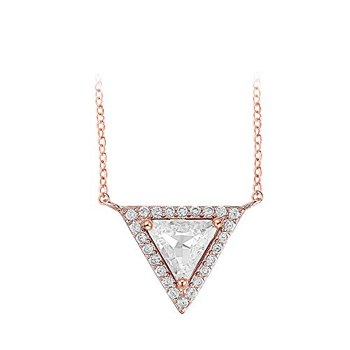 Gercia Triangle Shape Pendant Necklace in Rose Gold Plated Diamond Simulant Cubic Zirconia Jewelry for Women,Crystal from Swarovski