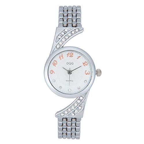 JINRU Women's Watch with Crystal Studded Bezel, Alloy Bracelet Strap with Jewelry Clasp,Silver