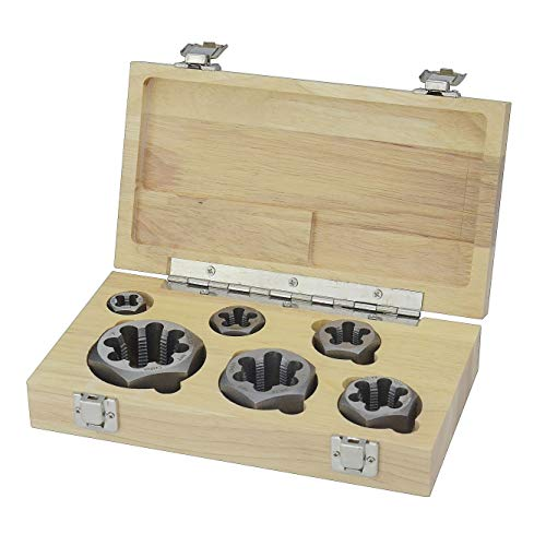 "Drill America 6 Piece NPT Pipe Die Set, 1/8"", 1/4"", 3/8"", 1/2"", 3/4"" and 1"", Rethreading, Carbon Steel, Wooden Case"