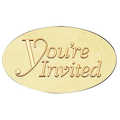 You're Invited Embossed Oval Gold Foil Envelope Seals, 1 1/2 Inch, 30 Count