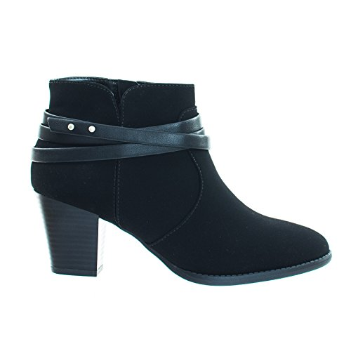 Heel Ankle Western Shoes City On Chunky Bootie Belted Vintage Nubuck Black Classified Block Biker P1nt8