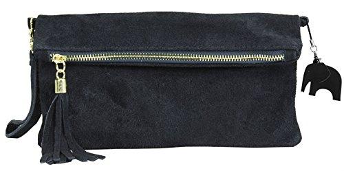 pochette italien Soldé avec Z suède livré Petit Marine sac soirée avec décoratif une Marrón 'Ruth' clutch Liquidación z pompon protectrice de claro LIATALIA en assorti Bleu fZwg00
