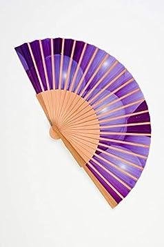 Abanico de madera y tela tacto seda de color morado artesano handmade en España CMenendez: Amazon.es: Handmade