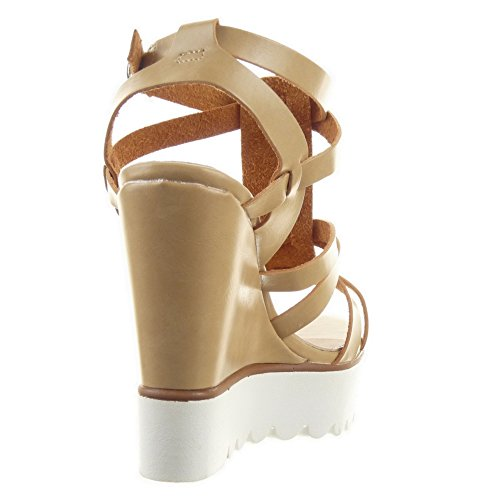 Sopily - Scarpe da Moda sandali scarpe decollete cinturino Zeppe alla caviglia donna multi-briglia fibbia Tacco zeppa piattaforma 12 CM - Beige
