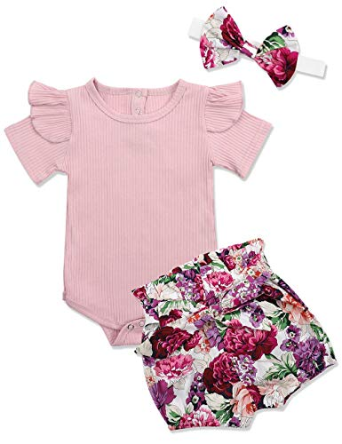 KANGKANG Newborn Baby-Girls Clothes Kids Floral Dress +Short Pant Summer Outfit 3-6 Months