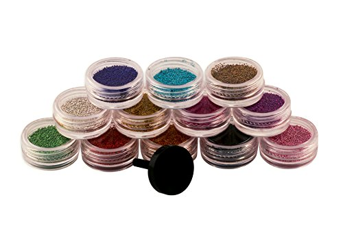 MASH Nail Art Micro Pearls Beads Caviar Manicures, Set of 12 Colors