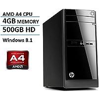 HP Pavilion Student/Office Desktop (AMD Quad-Core 64 bit Processor, 4G DDR3 Memory, 500GB 7200RPM HDD, AMD Radeon HD 8330 Graphics, DVDRW, USB 3.0, Windows 8.1) (Certified Refurbished)