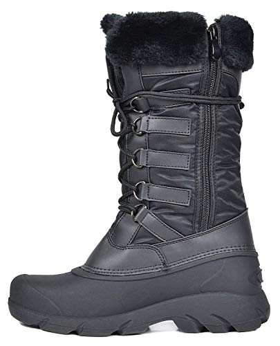 Tapanz Black Faux Fur Lined Mid Calf Winter Snow Boots Size 10 M US ()