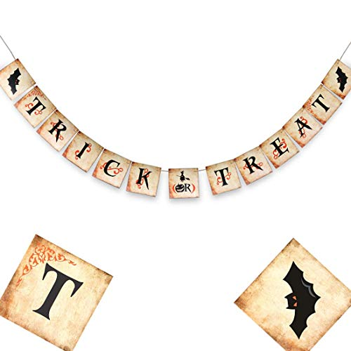 Primitive Halloween Decorations (Halloween Party Decorations - Trick or Treat Banner - Halloween Bunting Banner - Primitive Halloween Banner - Happy Halloween Signs - Halloween Pumpkin Party - 6 X 6)