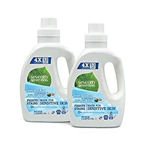 Seventh Generation Natural Laundry Detergent Free and Clear Unscented , 40 Fl Oz (Pack of 2)