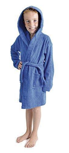 Aumsaa Boys children Dressing Gown Hooded Towelling Bathrobe 100% Cotton Terry Towel Bath Robe Soft Lounge Wear (Royal, 11-12 Years)