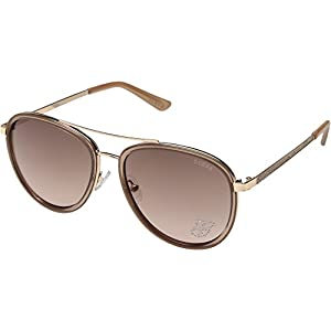 GUESS Women's GF6052 Shiny Taupe/Rose Gold/Brown To Pink Gradient Lens One Size