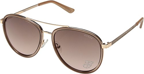 GUESS Women's GF6052 Shiny Taupe/Rose Gold/Brown To Pink Gradient Lens One - Sunglasses Guess Women