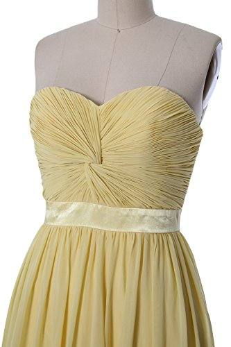 MACloth Women Strapless Lace-up Short Bridesmaid Dress Wedding Party Gown Champagne
