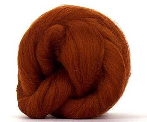 4 oz Paradise Fibers 64 Count Dyed Rust (Brown) Merino Top Spinning Fiber Luxuriously Soft Wool Top Roving for Spinning with Spindle or Wheel, Felting, Blending and Weaving