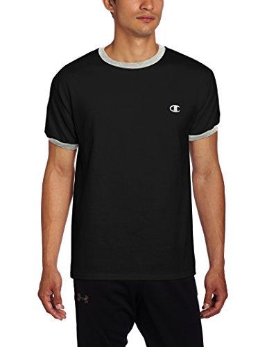 Champion Mens Jersey Ringer T-Shirt, Black/Oxford Gray, X-Large